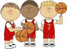 THREE BOYS HOLDING A BASKETBALL