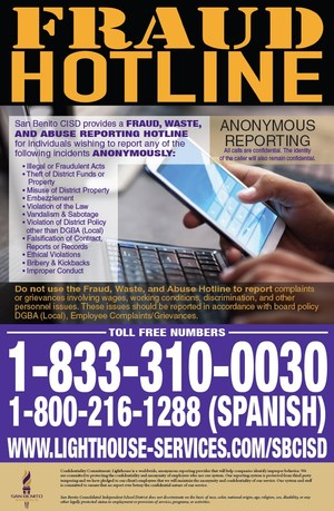 Fraud Hotline flyer
