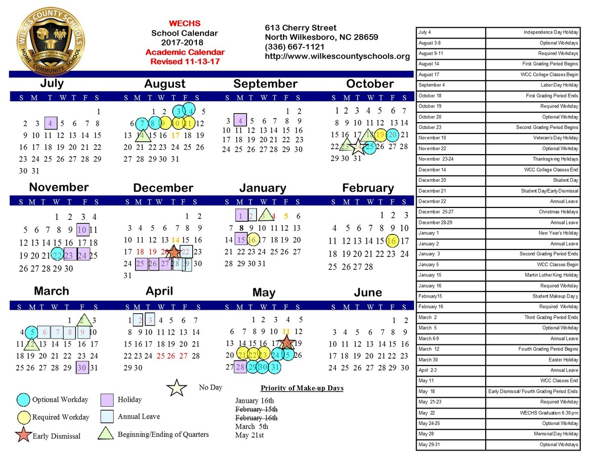 2017-18 WECHS Calendar Revised November 13, 2017