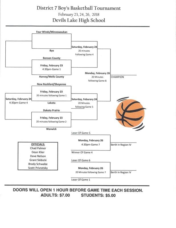 2018 BBB District 7 Tournament Schedule