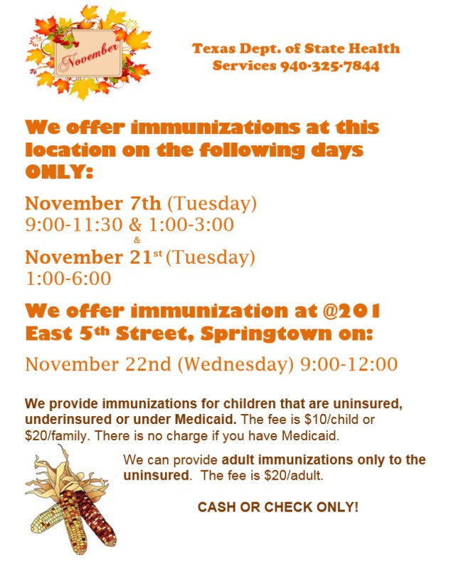 This is a flyer with dates, times and locations of the Texas Department of Health Immunization Clinics.
