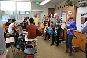 Students and teachers using the newly donated instruments for the first time