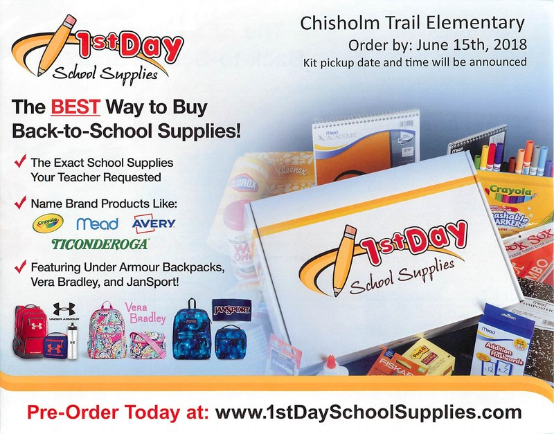 1st Day School Supplies Flyer with order information on it. Order by: June 15th. Order at www.1stDaySchoolSupplies.com