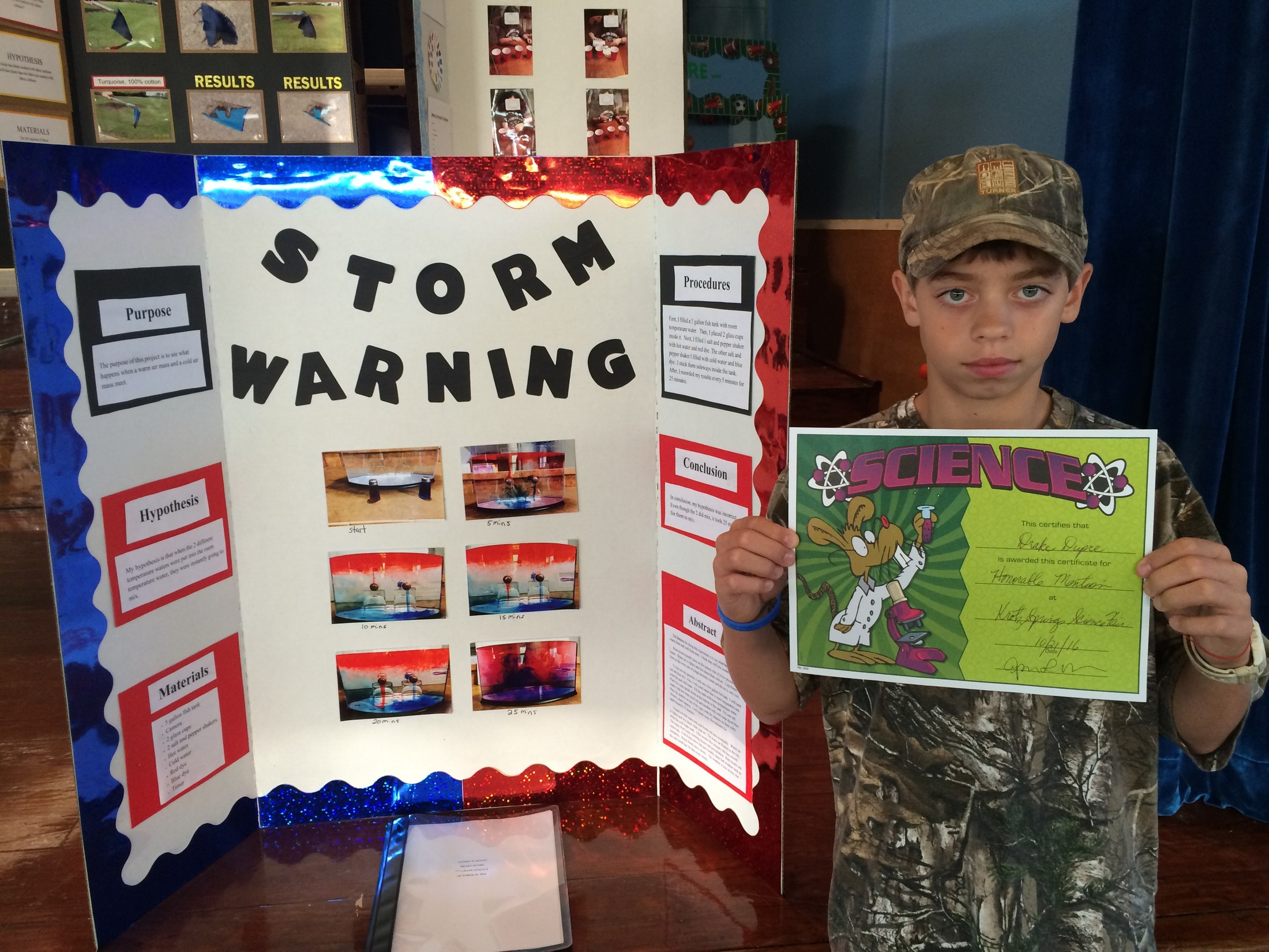 7th Grader Honorable Mention in Science Fair