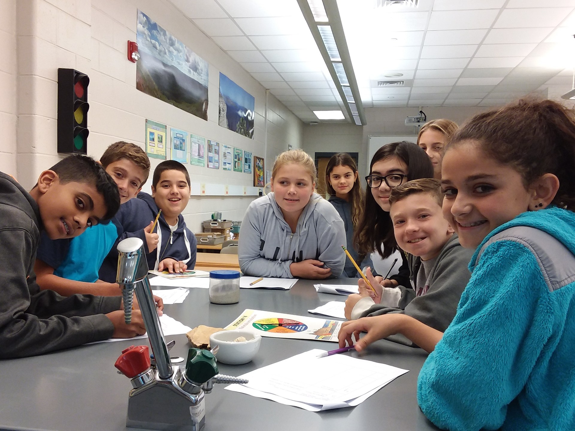 Sixth graders explore the rock cycle.