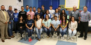 Administrators and students who earned the animal sciences certification at VMHS