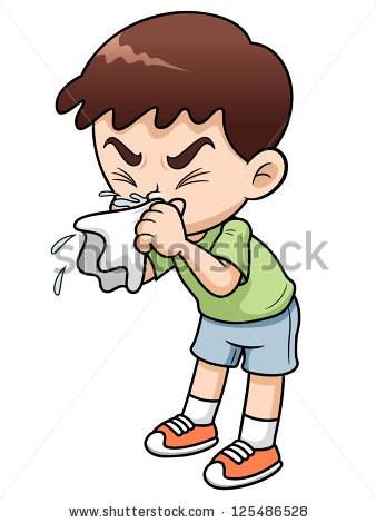 boy sneezing