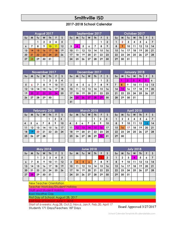 2017-2018 Academic Calendar Thumbnail Image
