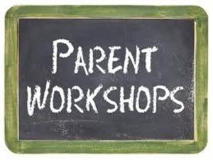 Parent workshop written on a chalk board