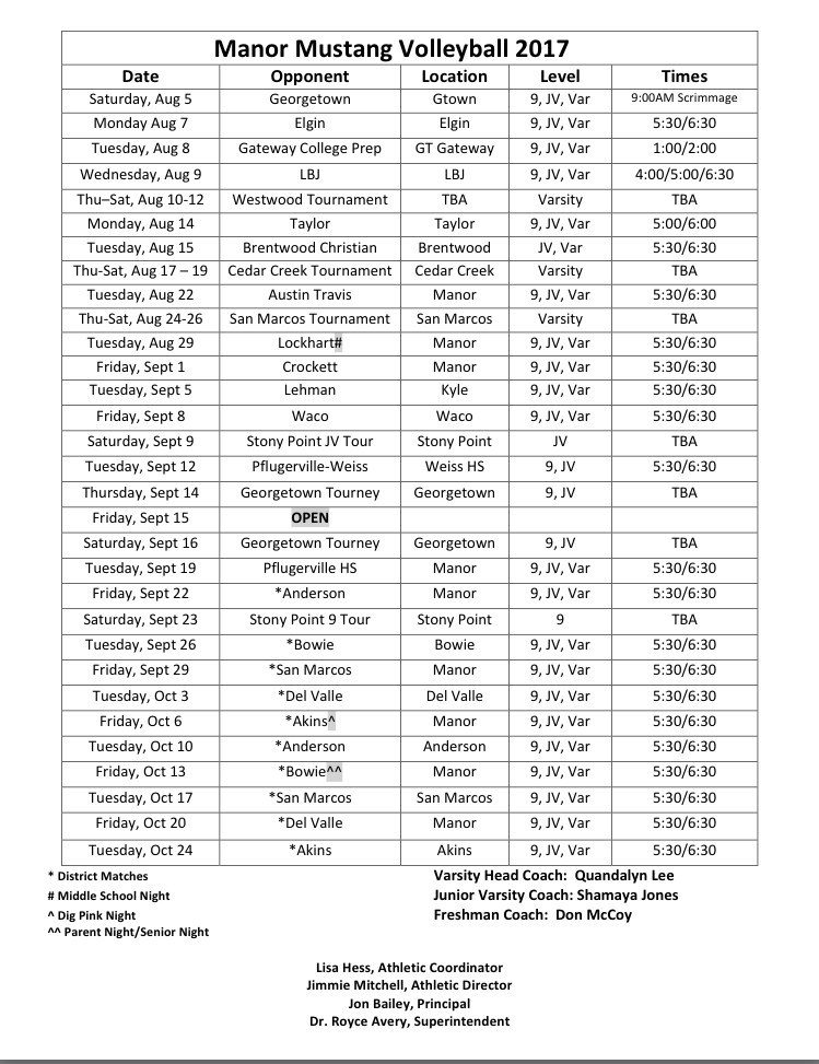 MHS Volleyball Schedule.