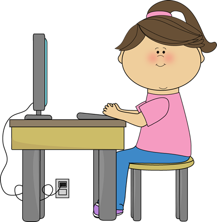 Child at computer clip art
