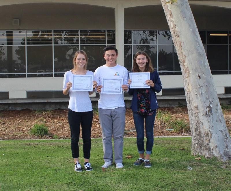 Marina's three Hugh O'Brian Youth Leadership Seminar (HOBY) students Thumbnail Image