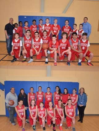 Students pose for a team photo in red American Academy athletic uniforms