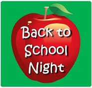 A red apple with the words Back to School Night