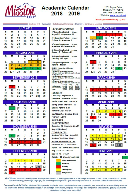 The 2018-2019 School Calendar is here! Featured Photo