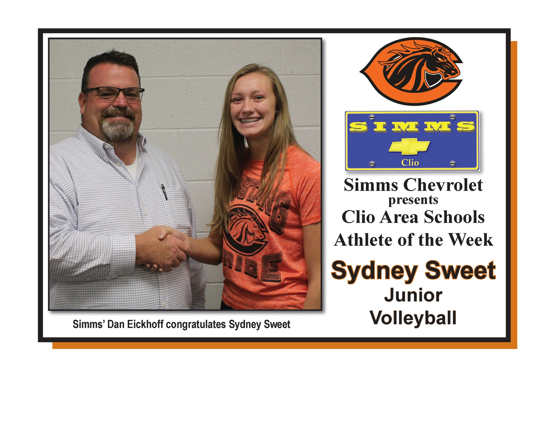 Photo of Sydney Sweet receiving Simms Chevrolet Athlete of the Week honors from Dan Eickoff