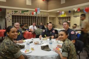 Hemet Fire Department and cadets having breakfast at Tahquitz High School