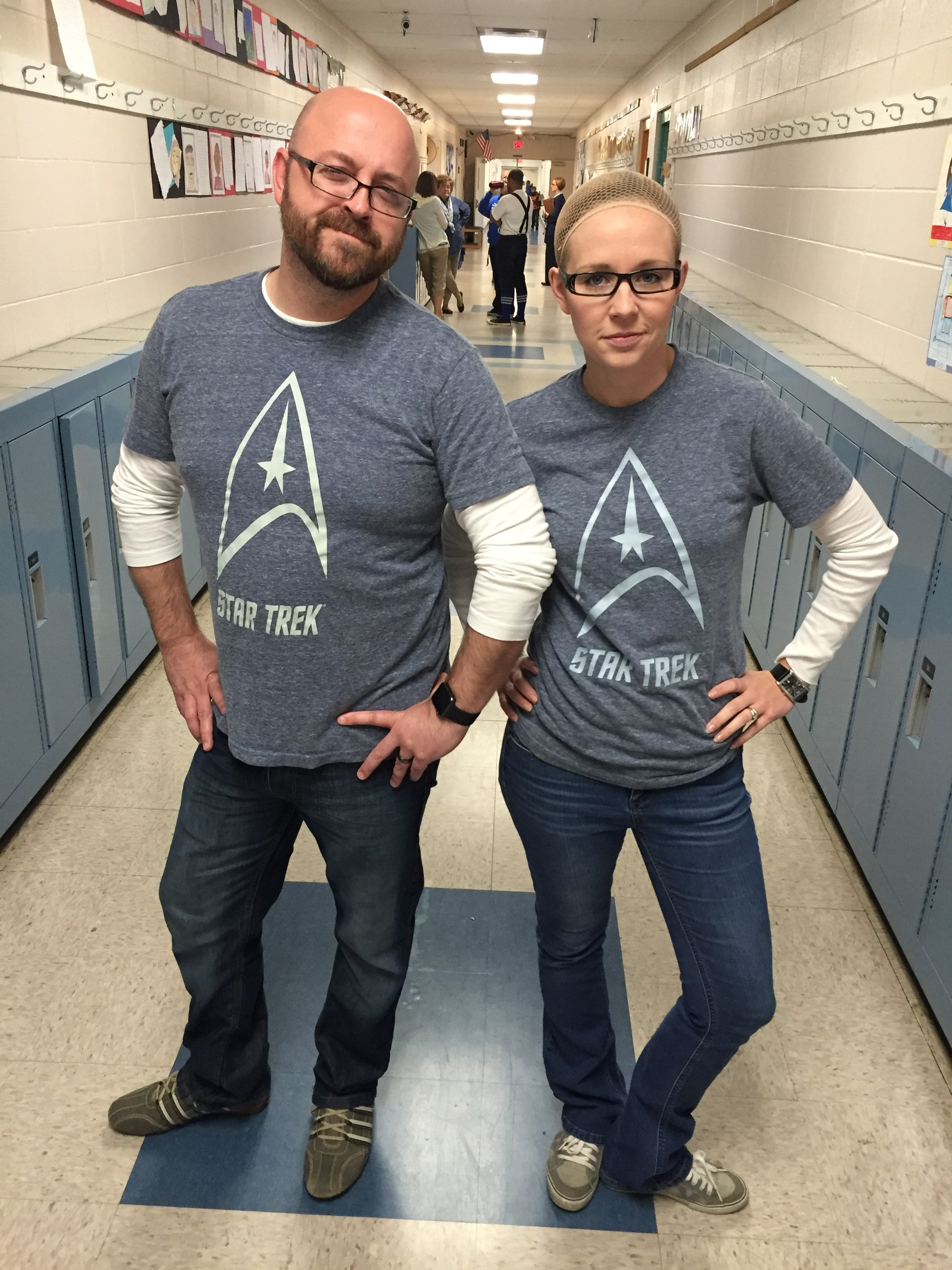 Mr. and Mrs. Furney participate in Twin Day for Spirit Week