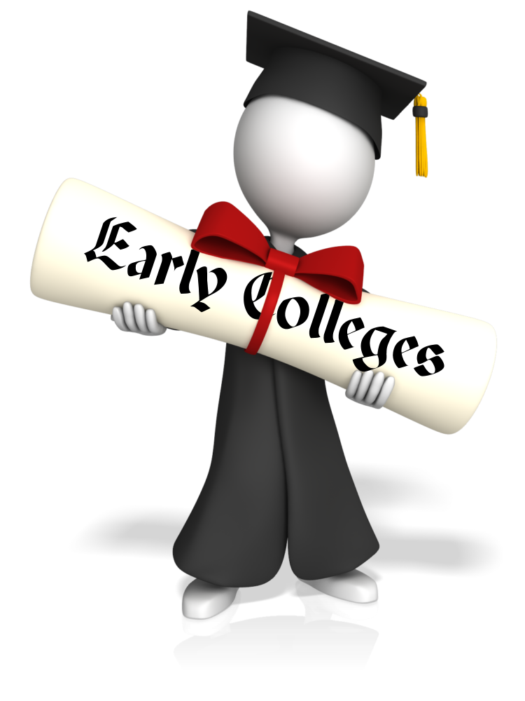 Cartoon graduate holding Early Colleges diploma