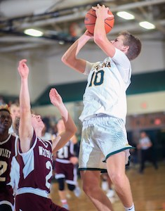 Coloma's Zach Goodline goes up for a shot in a game earlier this season.