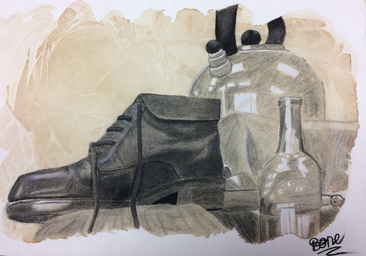 Still life drawing of shoes and bottles