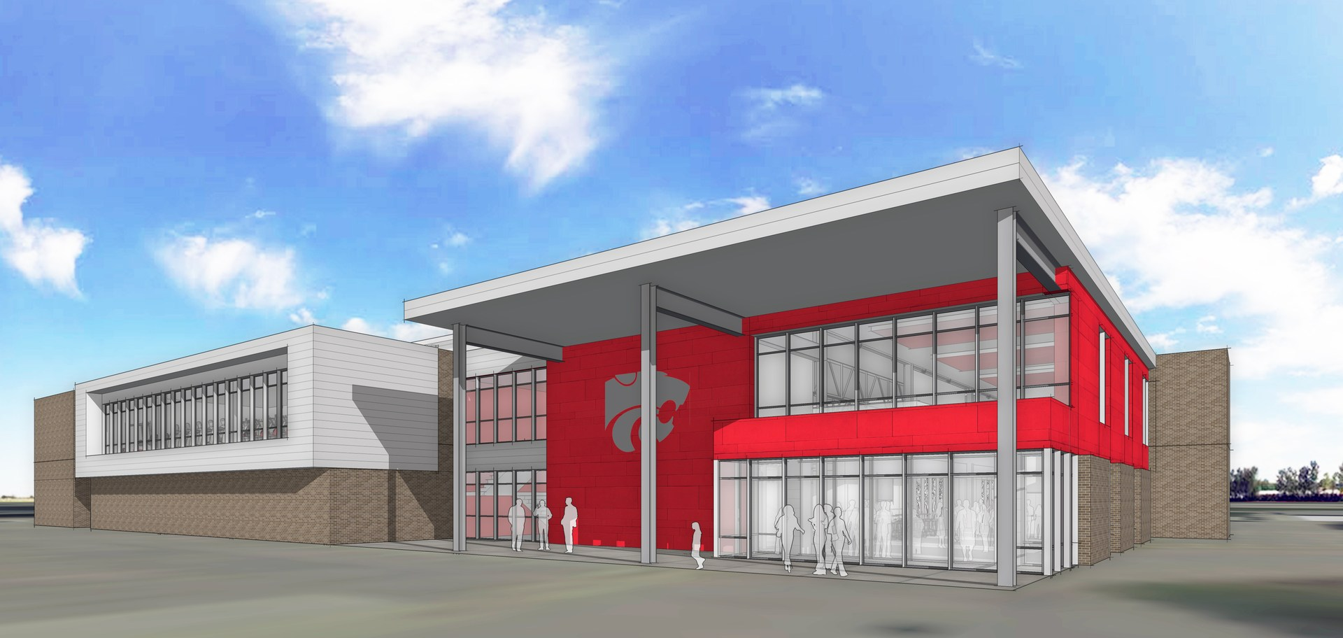 Rendering of Front Entrance of New Indoor Activities Center