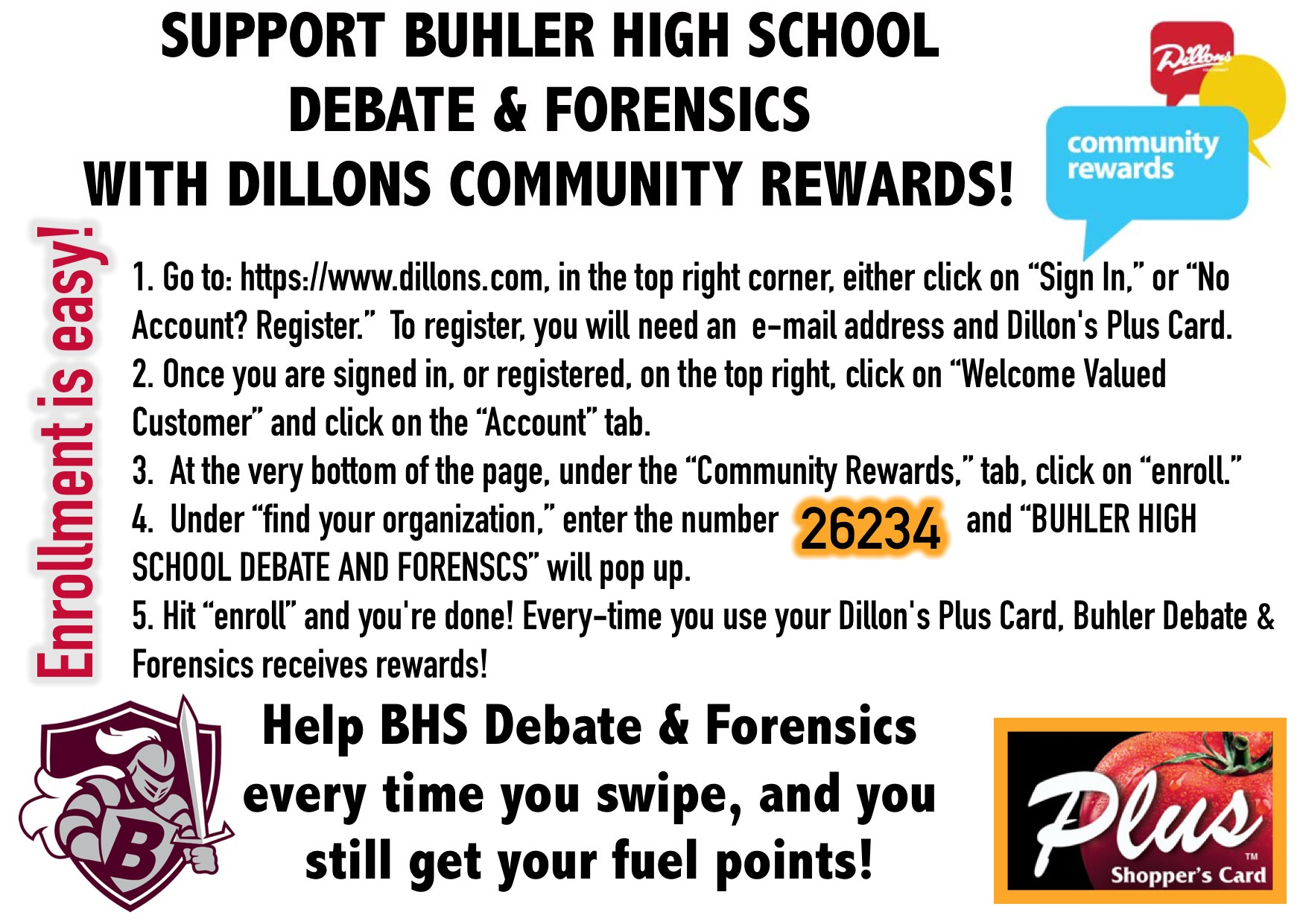 Dillons Fundraiser instructions