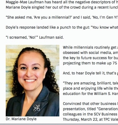 Dr. Mariane Doyle Keynote Speaker Millennials in the Workplace Seminar