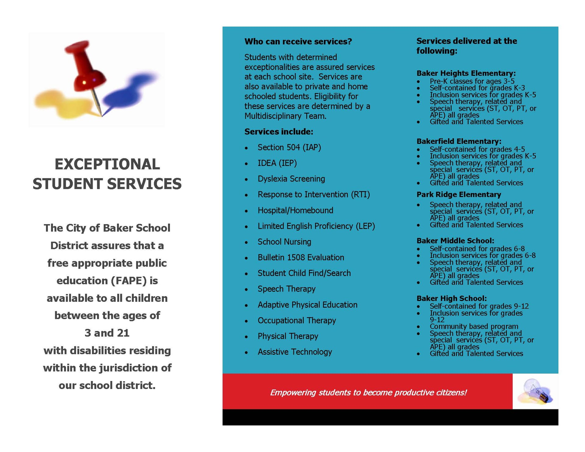 Photo of flyer with information about Baker's Exceptional Student Services Department