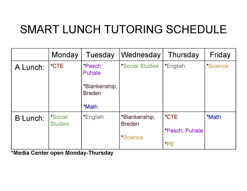 Smart Lunch Tutoring Schedule Thumbnail Image
