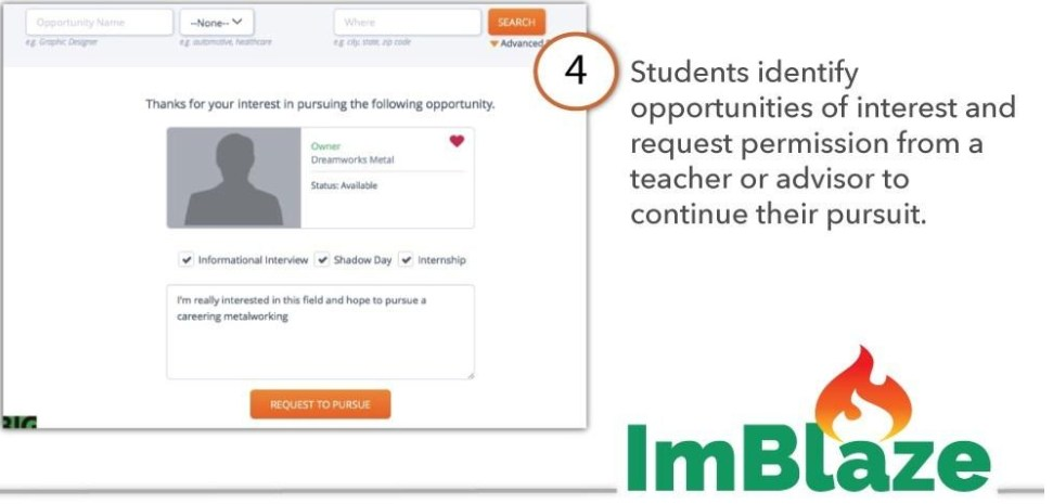 Students identify opportunities of interest and request permission from a teacher or advisor to continue their pursuit.