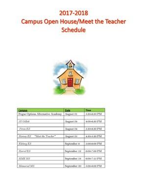 Campus Open House Schedules - Meet the Teacher 2017-2018.jpg
