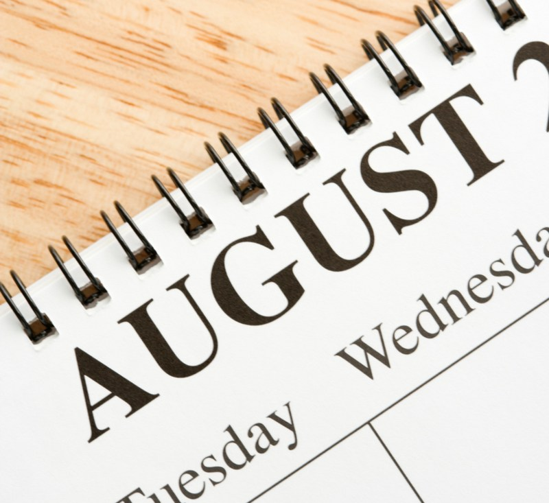 close up of blank calendar, showing August