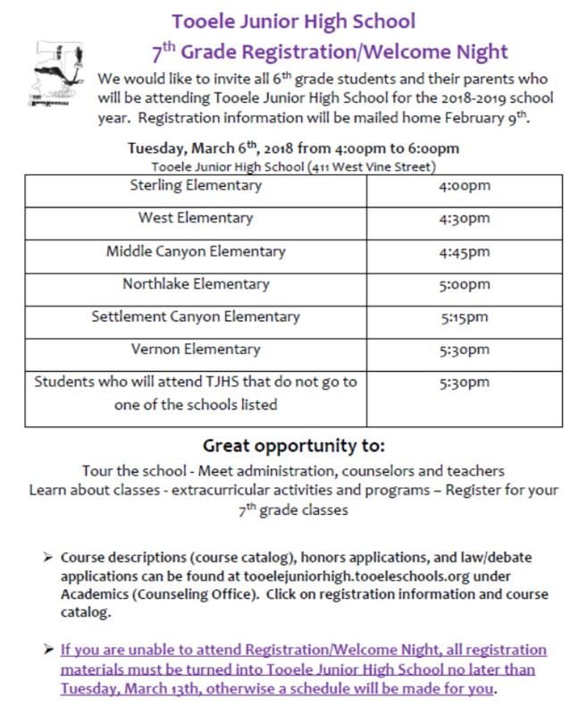 Tooele Junior High 7th Grade Welcome/Registration Night Scheduled Thumbnail Image