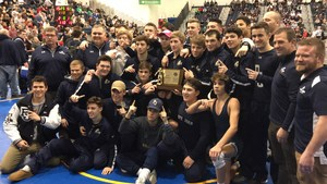 PJ wrestling poses with state title