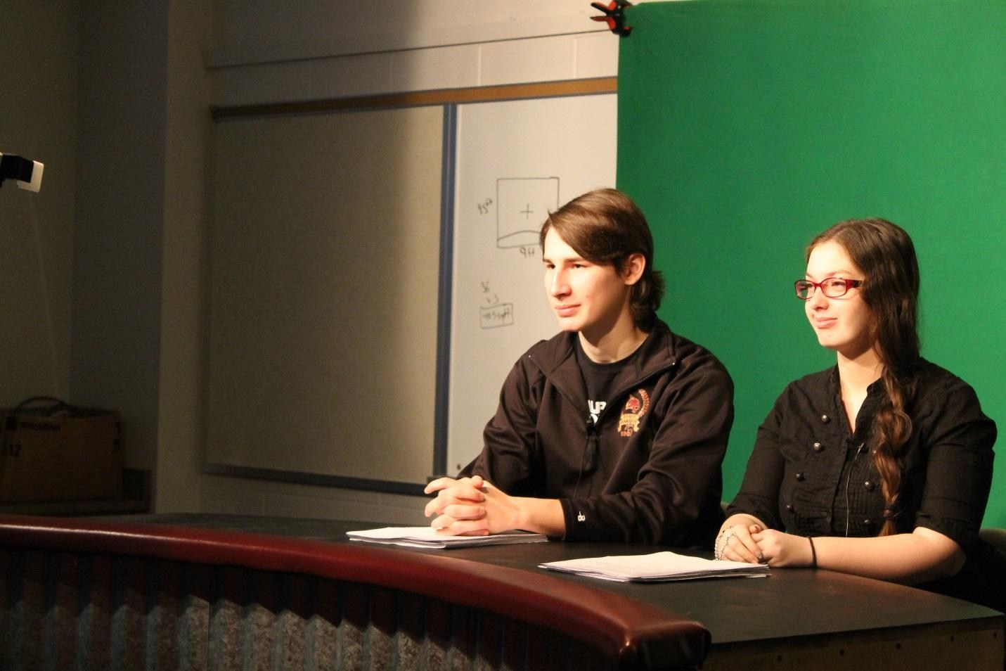 HS new broadcasting team, taping the morning news.
