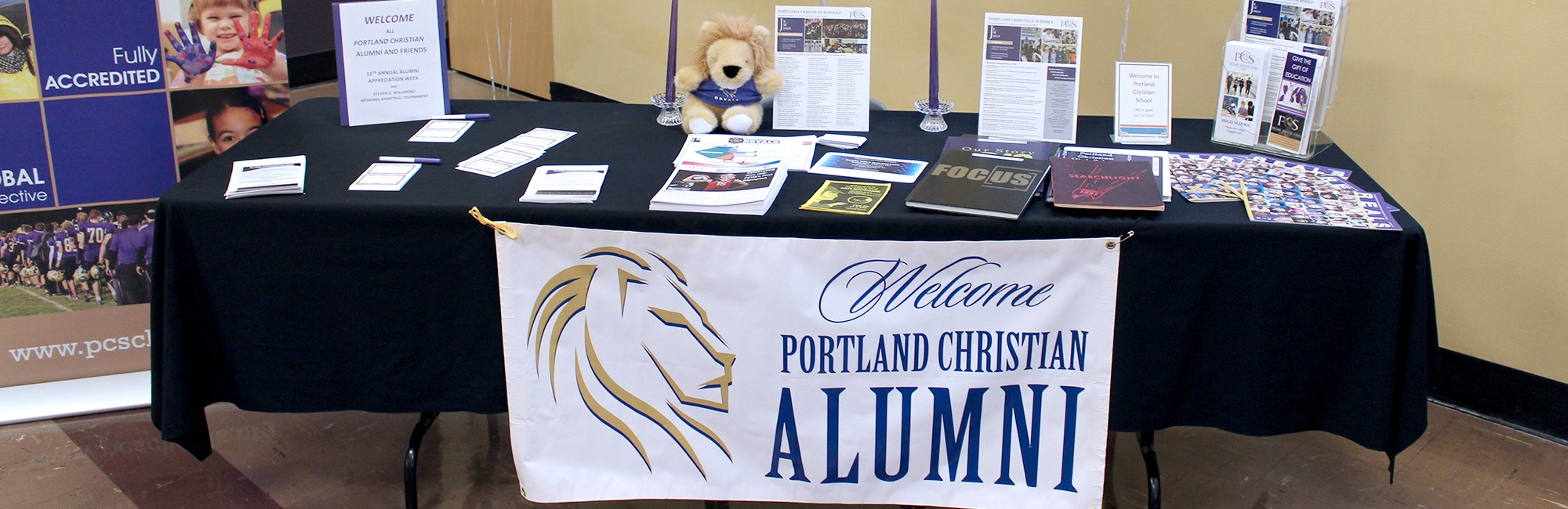 Welcome sign in the lobby for alumni week