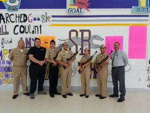 Mr. James Lambert donated four new air rifles today to the San Benito NJRTOC Marksmanship program.  The NJROTC unit greatly appreciates his donation to help the unit be a step above. Pictured are the Variety Marksmanship Team: (Left to Right) Tristan Lambert, Marco Robles, Amber Cano and Jimmy Gonzalez
