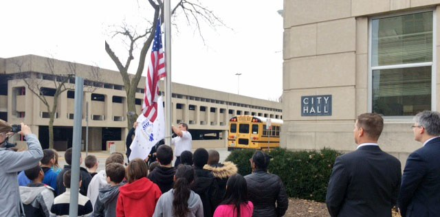 RICMS Students Attend Special Flag Ceremony Featured Photo