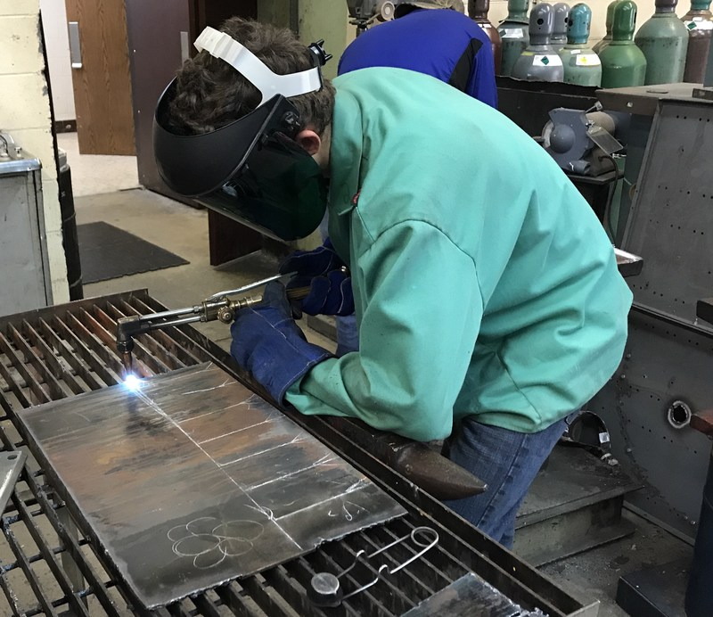 A welding student works on a project at Brookland-Cayce High School.