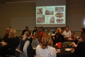 CTE Students and guests share a laugh during the lunch
