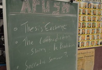 green chalkboard in APUSH class