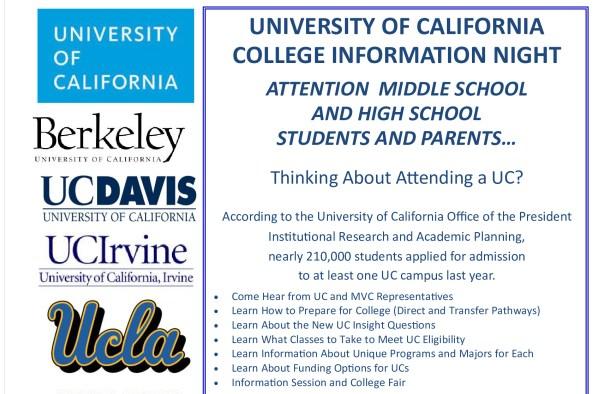 UC college info night flyer