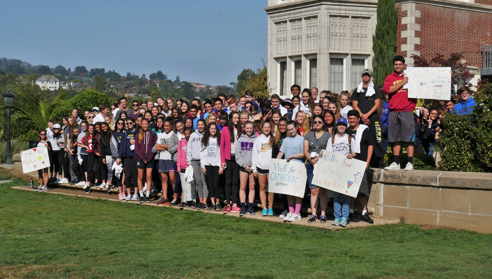 Students participating in the Tri-School Walk for Catholic Worker