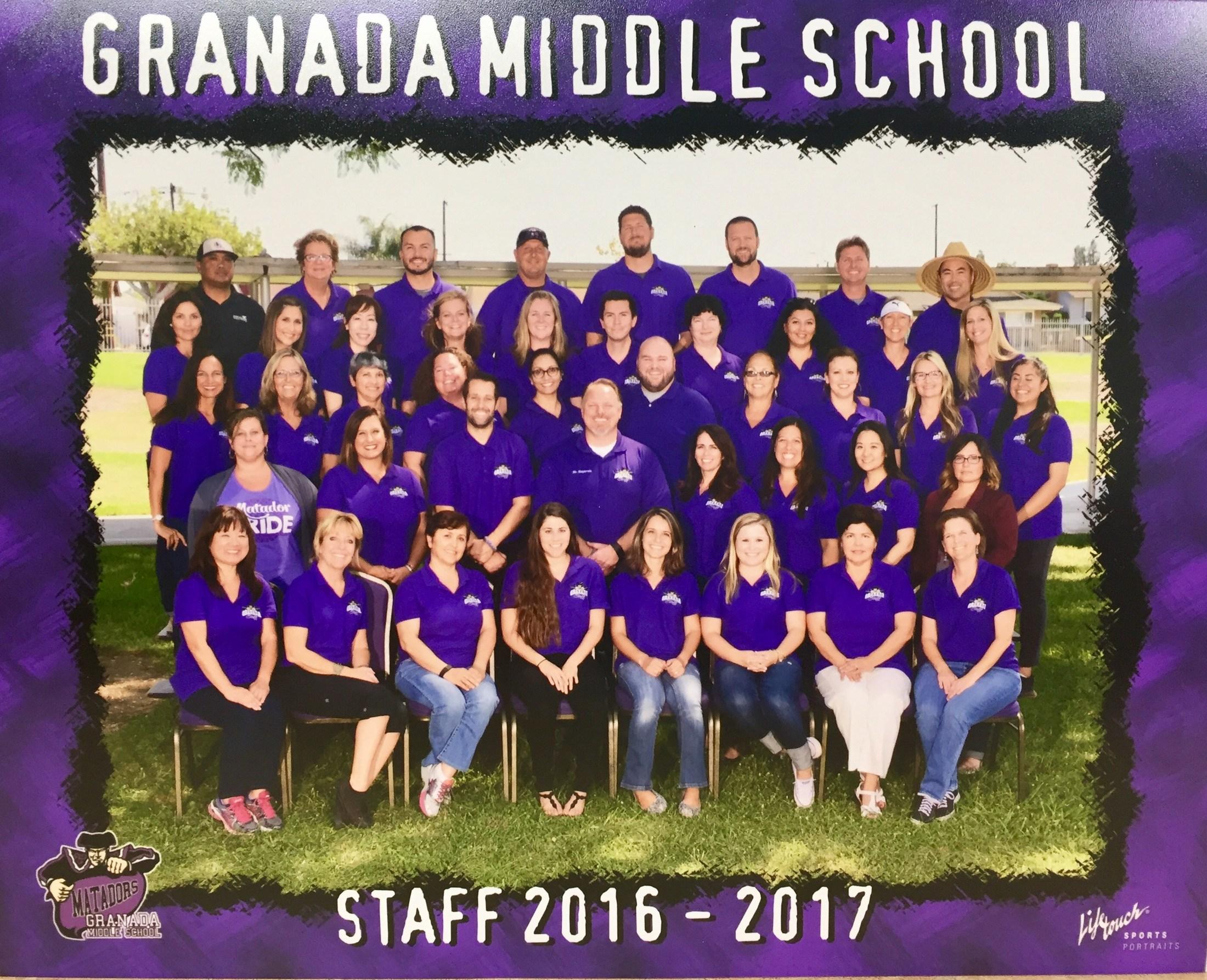 Granada Middle School staff for 2016-17