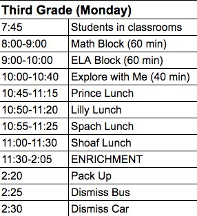 Image of 3rd grade enrichment schedule