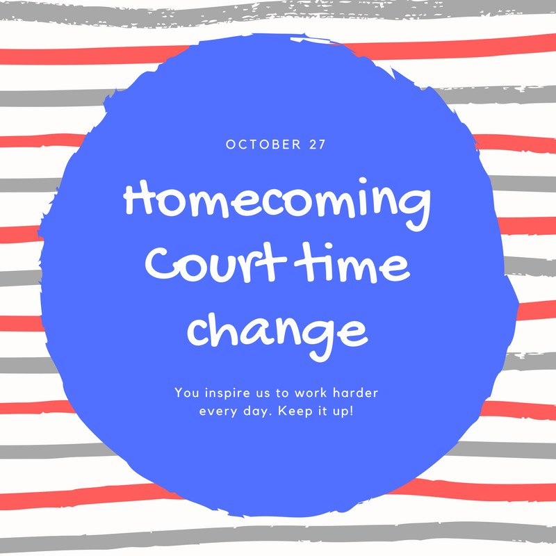 Time change for Homecoming