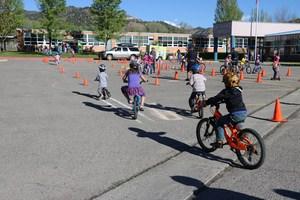 Students riding bikes.