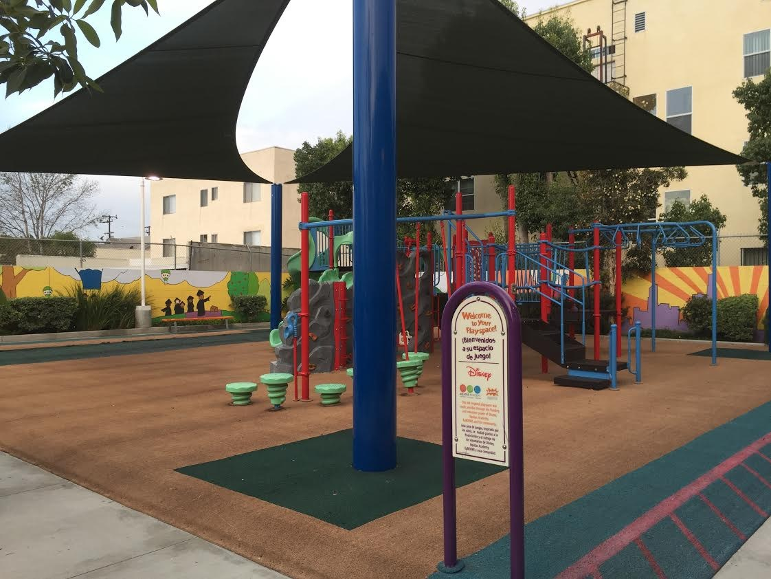 Angled image of play apparatus at flagship school.