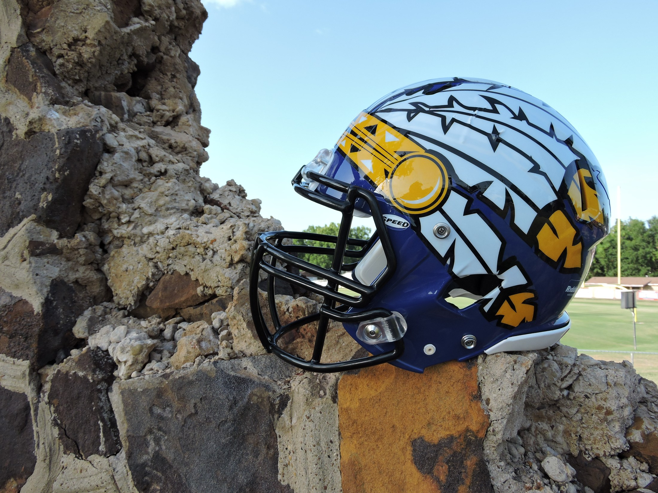 new helmet on the broken wall